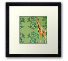 Wallpaper Giraffe Green Framed Print