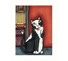 Tux Cat Cleaning Art Print