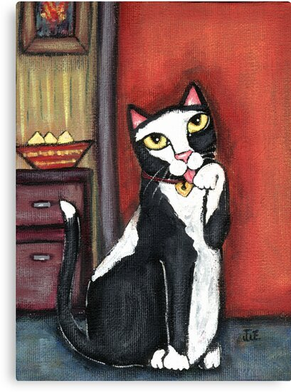 Tux Cat Cleaning by Jamie Wogan Edwards