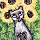 Siamese in The Sunflowers by Jamie Wogan Edwards