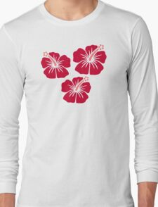 Red hibiscus flowers Long Sleeve T-Shirt