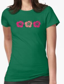 Pink hibiscus flowers Womens Fitted T-Shirt