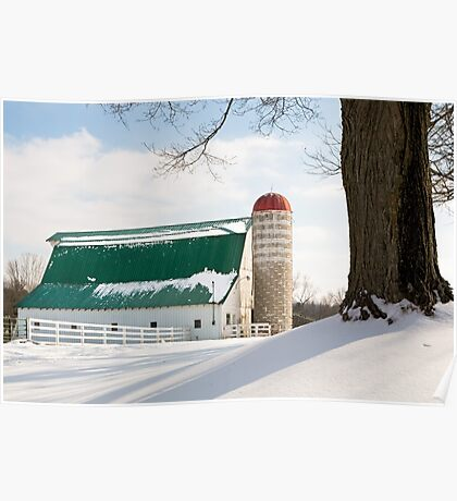 Winter Barn and Silo Poster
