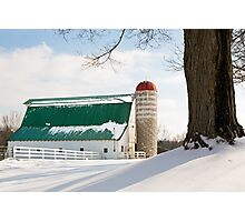 Winter Barn and Silo Photographic Print