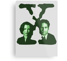 X-FILES - Scully & Mulder (green) Metal Print