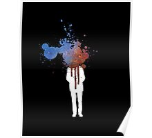 Space Heads Blue and Red - Abstract Grafitti Poster
