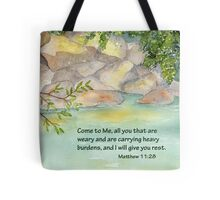 An Invitation to Rest- Matthew 11:28 Tote Bag