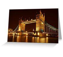 Tower Bridge At Night, London, United Kingdom Greeting Card