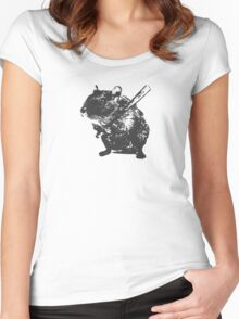 Angry street art mouse / hamster (baseball edit) Women's Fitted Scoop T-Shirt