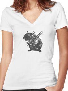 Angry street art mouse / hamster (baseball edit) Women's Fitted V-Neck T-Shirt