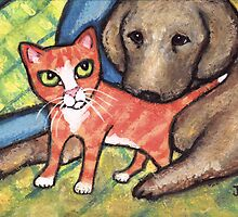 Labrador Retriever Puppy With Tabby Kitten by Jamie Wogan Edwards