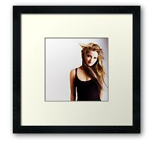 Beautiful young girl with windswept hair Framed Print