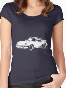 1980s Porsche 911/930 Turbo Hand Drawing Women's Fitted Scoop T-Shirt