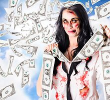 Zombie person with falling 1 dollar US bank notes by Ryan Jorgensen