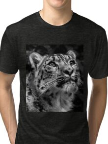 Black & White Snow Leopard Tri-blend T-Shirt