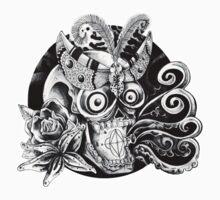 Skull Moth Flower Kids Tee