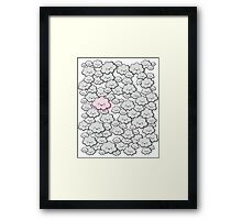 Kawaii Grey Little Clouds Framed Print