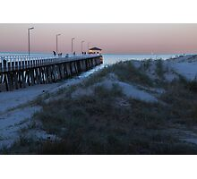 Jetty and dunes at dawn Photographic Print