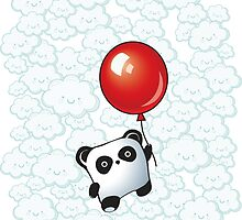 Kawaii Little Panda on the Balloon by MaShusik