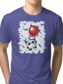 Kawaii Little Panda on the Balloon Tri-blend T-Shirt