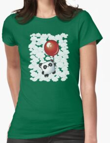 Kawaii Little Panda on the Balloon Womens Fitted T-Shirt