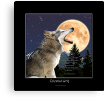 CELESTIAL WOLF II & POEM Canvas Print
