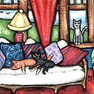 Cats Lounging In The Sunroom  by Jamie Wogan Edwards