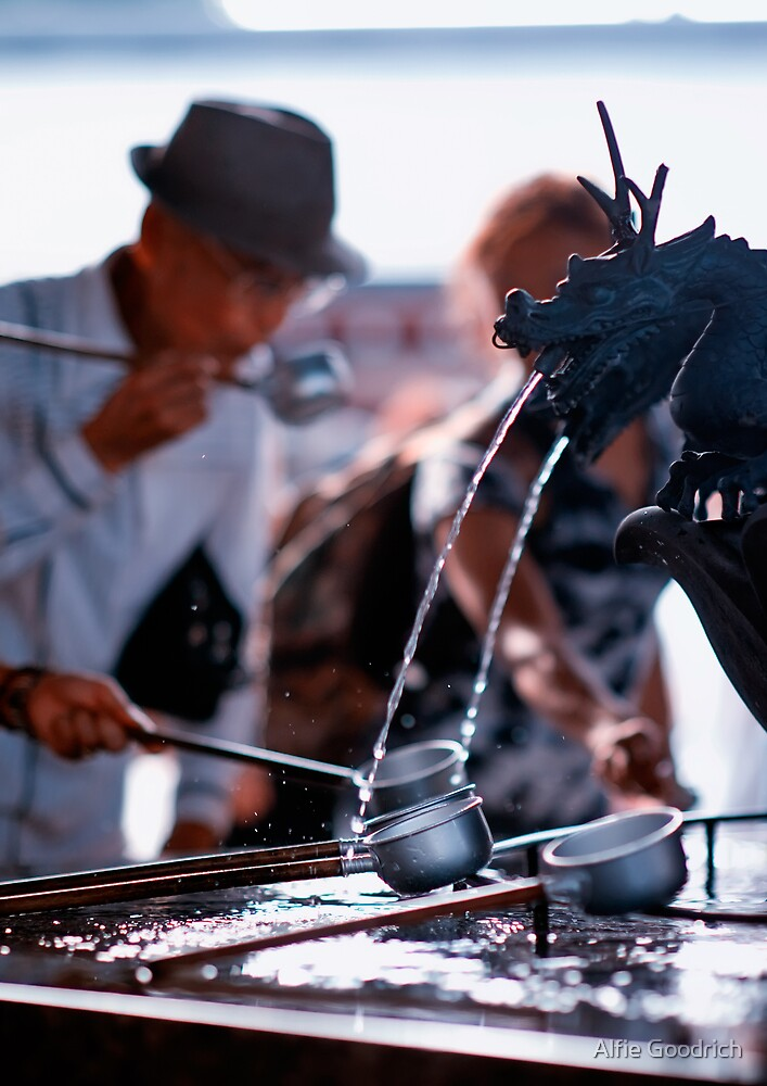Cleansing the body before entering the shrine, Asakusa, Tokyo, Japan by Alfie Goodrich