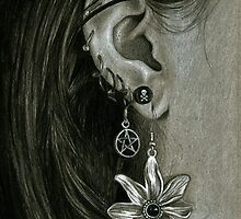 Punk Piercings, Black and White girl with earings by IrenesGoodies