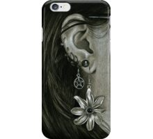 Punk Piercings, Black and White girl with earings iPhone Case/Skin