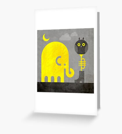 Elephant and Owl Greeting Card