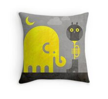 Elephant and Owl Throw Pillow