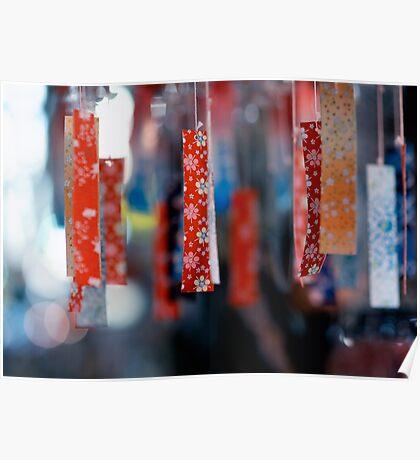 Strips of hanging Japanese paper; Asakusa, Tokyo, Japan Poster