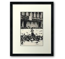 Little girl and pigeons in Venice Framed Print