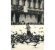 Little girl and pigeons in Venice Photographic Print