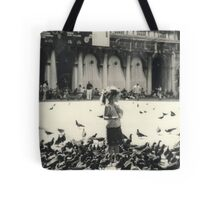 Little girl and pigeons in Venice Tote Bag