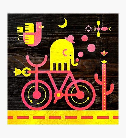 Bicycle Elephant Photographic Print
