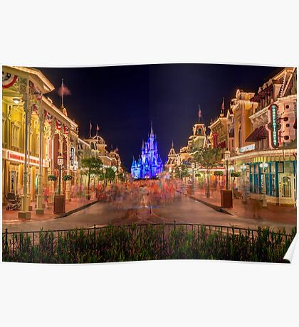 Nighttime On Main Street USA Poster