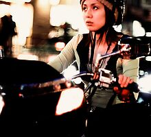 Scooter girl bokeh extravaganza, Tokyo, Japan by Alfie Goodrich