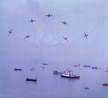 Out of The Haze, The Red Arrows, Broadstairs, Kent 1980 by Colin J Williams Photography
