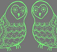 Green Owls on Grey by Shara