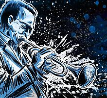 miles davis free jazz music illustration drawing trumpet saxophone john coltrane dizzy gillespie by Joe Badon