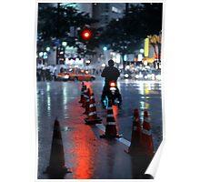 Cones in the rain: Shibuya, Tokyo, Japan. Poster