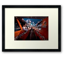 Two taxi drivers having a chat; Ueno Station, Tokyo, Japan Framed Print