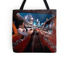 Two taxi drivers having a chat; Ueno Station, Tokyo, Japan Tote Bag