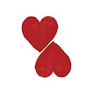 two hearts - red by beverlylefevre