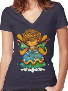 TShirt Watch Over Me Angel Women's Fitted V-Neck T-Shirt