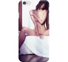Artistic portrait of beautiful naked asian woman sitting naked on a bed art photo print iPhone Case/Skin