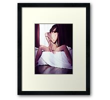 Artistic portrait of beautiful naked asian woman sitting naked on a bed art photo print Framed Print
