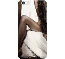 Artistic photo of a nude woman on a bed with hair covering her body art photo print iPhone Case/Skin
